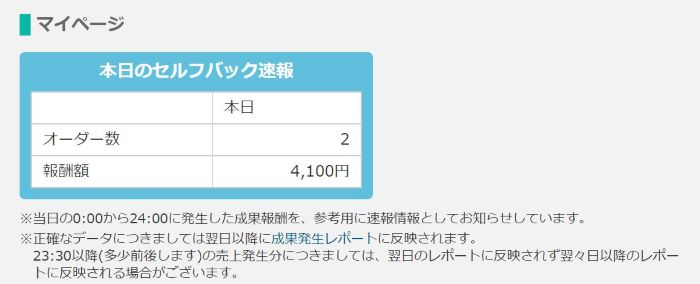 ★★本日のセルフバックの報酬金額がカウントされる