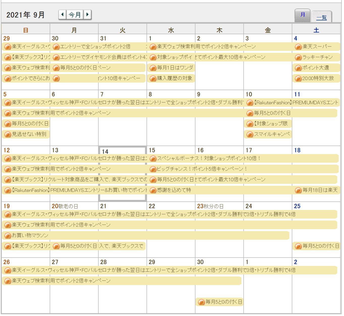 ★★楽天セールのカレンダー